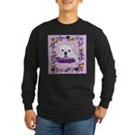 Bulldog puppy with flowers Long Sleeve Dark T-Shir