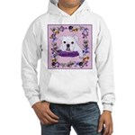 Bulldog puppy with flowers Hooded Sweatshirt