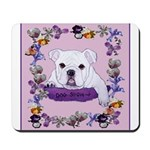 Bulldog puppy with flowers Mousepad