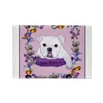 Bulldog puppy with flowers Rectangle Magnet (100 p