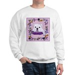 Bulldog puppy with flowers Sweatshirt