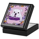 Bulldog puppy with flowers Keepsake Box