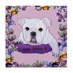 Bulldog puppy with flowers Tile Coaster