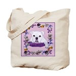 Bulldog puppy with flowers Tote Bag