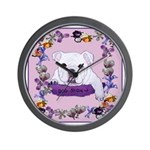 Bulldog puppy with flowers Wall Clock