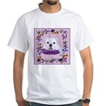 Bulldog puppy with flowers White T-Shirt