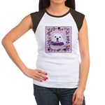 Bulldog puppy with flowers Women's Cap Sleeve T-Sh