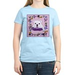 Bulldog puppy with flowers Women's Pink T-Shirt