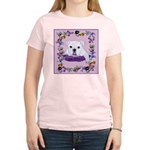 Bulldog puppy with flowers Women's Pink T-Shirt