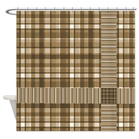 brown gifts brown bathroom d cor brown plaid shower curtain