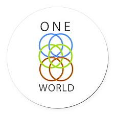One World Round Car Magnet