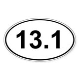 Half Marathon 13.1 White Oval Bumper Stickers