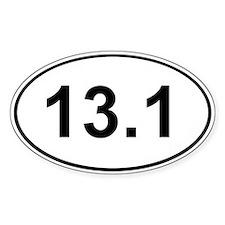 Half Marathon 13.1 White Oval Decal