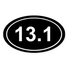 Half Marathon 13.1 Black Oval Decal