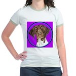 German Shorthair Pointer Head Jr. Ringer T-Shirt