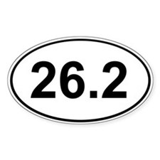 Marathon 26.2 White Oval Bumper Stickers