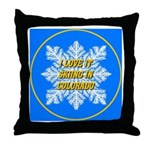 I Love It Skiing In Colorado Throw Pillow