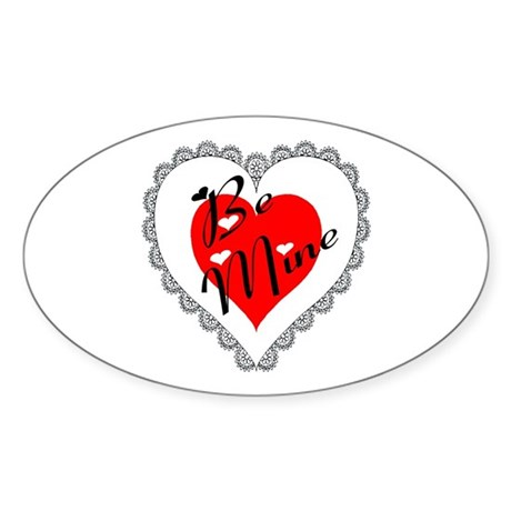 Lacy Heart Oval Sticker