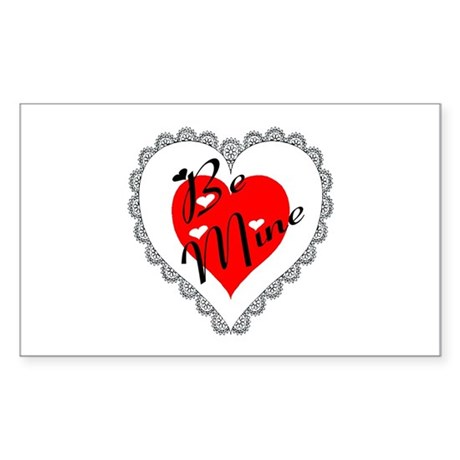 Lacy Heart Rectangle Sticker