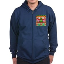 Ugly Christmas Sweater Dinosaurs Zip Hoodie