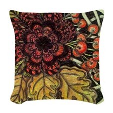 Red Flower Woven Throw Pillow
