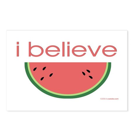 I believe in Watermelon Postcards (Package of 8)