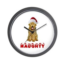 Naughty Goldendoodle Wall Clock