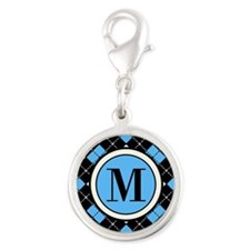 Argyle Pattern Black Blue and White Charms