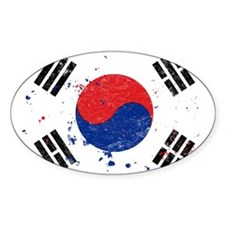 South Korean Flag (Punk) Oval Decal