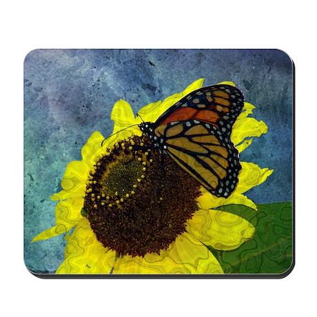 Butterfly and Sunflower Digital Art Mousepad