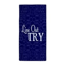 Line Out and Try Rugby Beach Towel