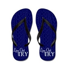 Line Out and Try Rugby Flip Flops