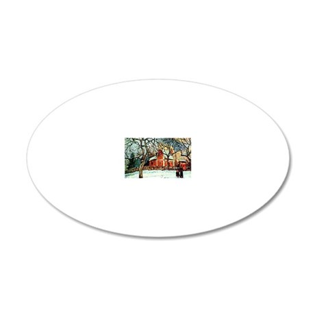 Pissarro - Chestnut Trees Lo 20x12 Oval Wall Decal