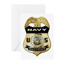 U S Navy Customs Badge Greeting Cards