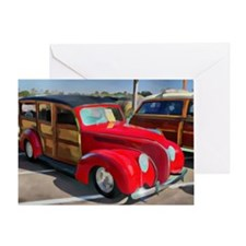 Paneled Woody Classic Surf Car Greeting Card