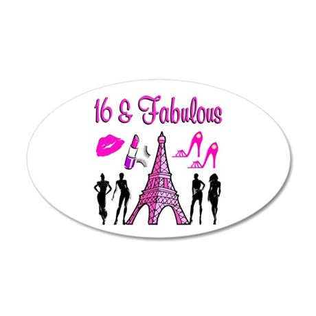 GLAMOROUS 16TH 20x12 Oval Wall Decal