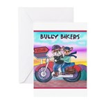 Bulldog and Frenchie Biker Greeting Cards (Package