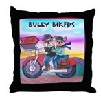 Bulldog and Frenchie Biker Throw Pillow