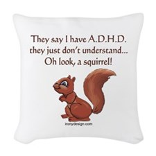 ADHD Squirrel Woven Throw Pillow