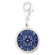 Oriental Rug Electric Blue Silver Round Charm