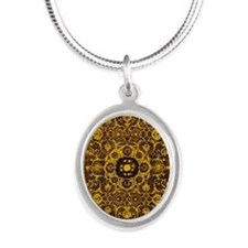 Oriental Rug Brown Silver Oval Necklace