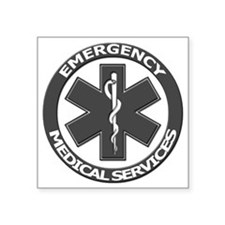 "EMS logo with transparent b Square Sticker 3"" x 3"""