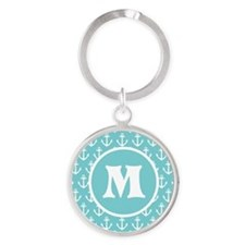 Personalized Anchor Monogram Aqua Keychains