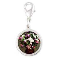 Asters in a Vase, painting by  Silver Round Charm