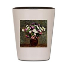 Asters in a Vase, painting by Henri Fan Shot Glass