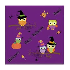 Halloween Owls Tile Coaster