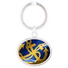 nautical crossed anchor Oval Keychain