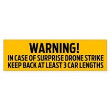 Drone Strike Warning Bumper Bumper Sticker