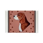 Beagle with pawprints Rectangle Magnet (10 pack)