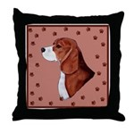 Beagle with pawprints Throw Pillow